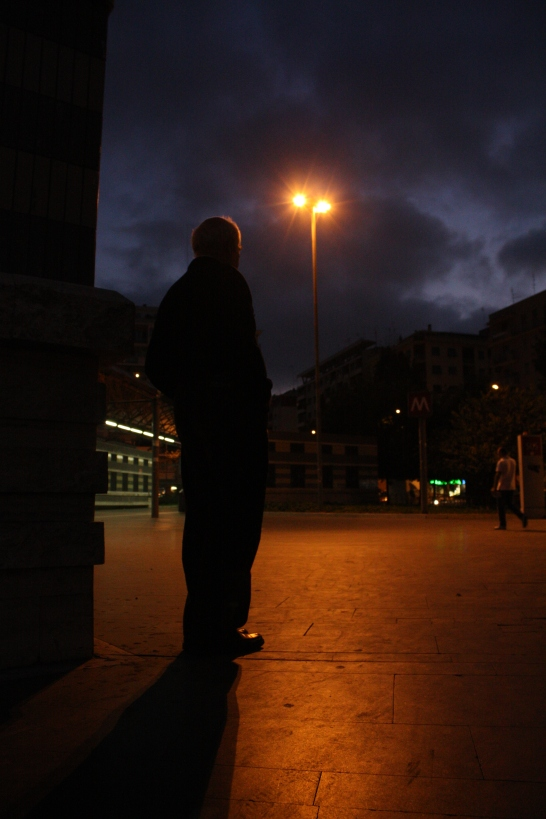 A man stands at the Cipro Metro stop, which is frequented by Temple Rome students as it is the metro stop for the residence.