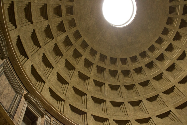 Looking up at the dome of the Pantheon from inside