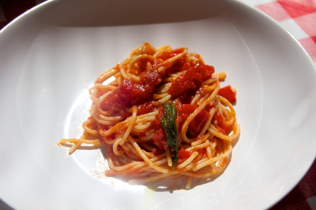 The perfect meal for a Saturday lunch - Gluten free pasta with a simple tomato sauce.