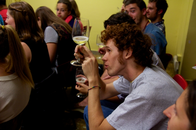 A student learn how to taste the wine by using: Sight, Smell, and Taste.