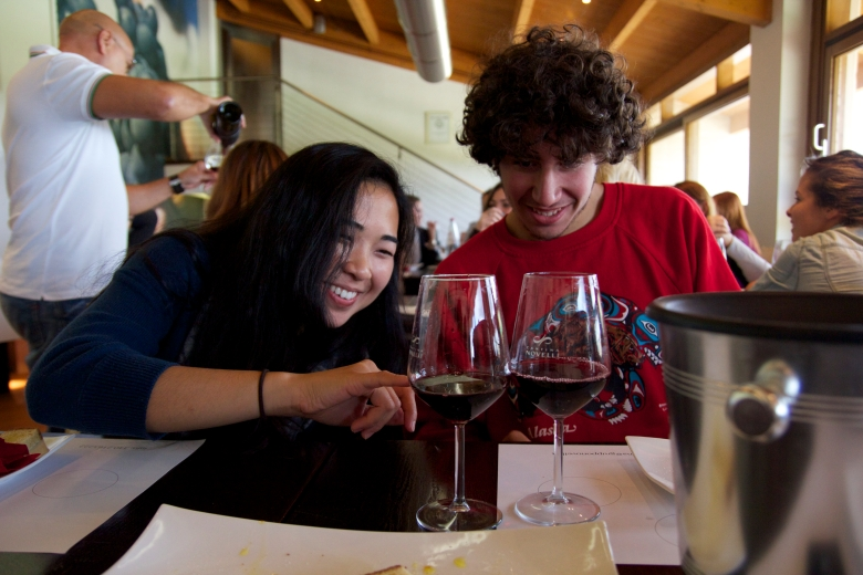 Students inspecting the color of the wine!