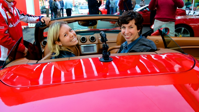 Taking a ride in the back of a Ferrari!