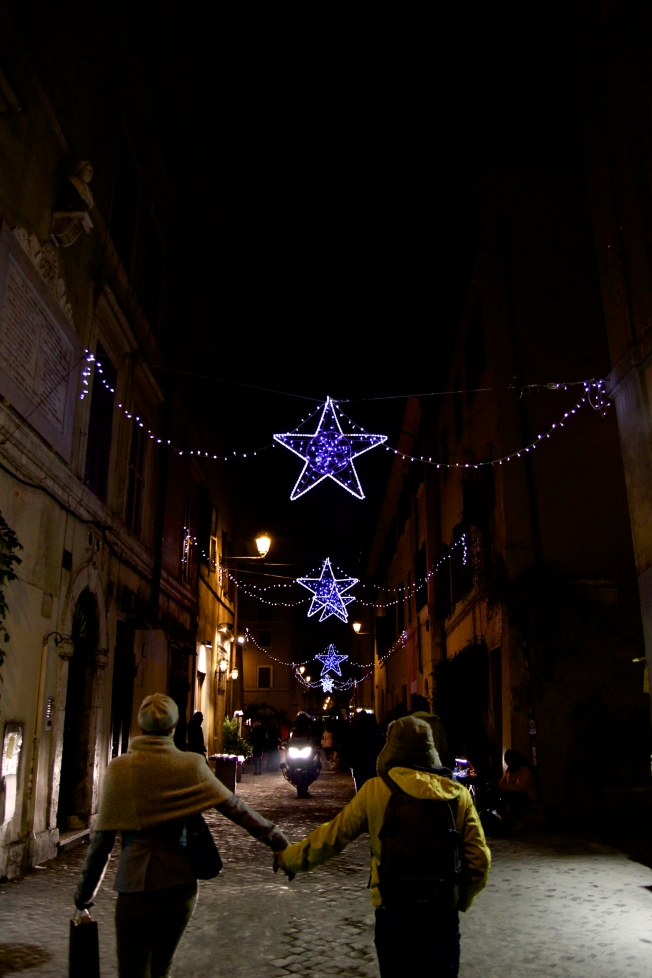 The city lights on the way to dinner! All Italian towns are decorated of the season!