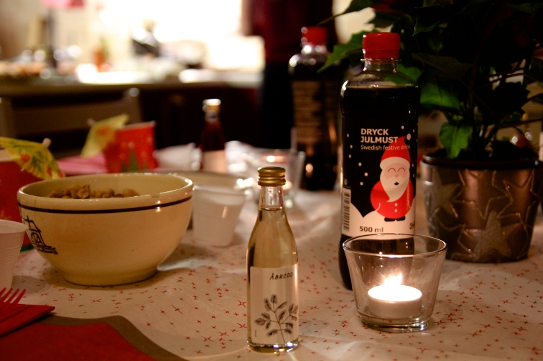The Swedish sing songs during the dinner and toast after every song with a special liquor.