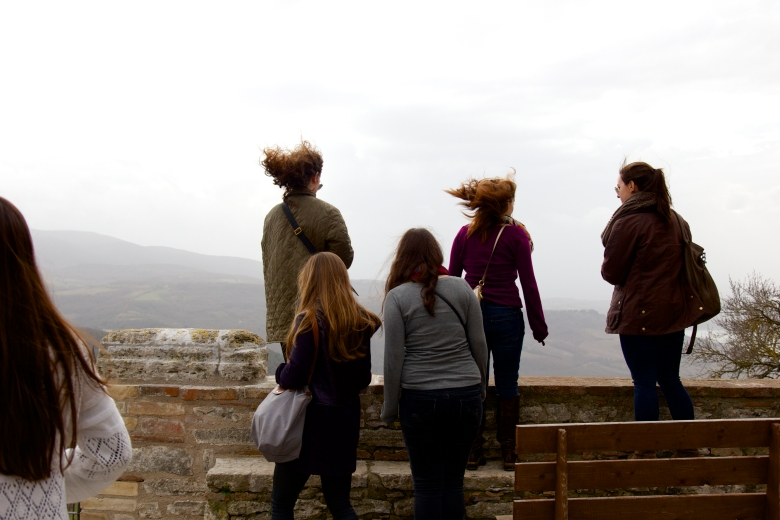 It was a bit windy in Titignano, as students looked out at the gorgeous view.