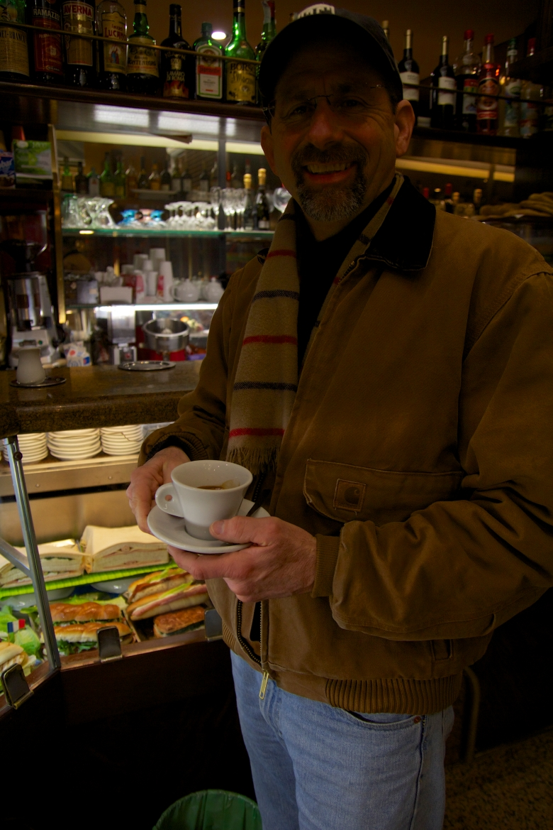 When Dad comes to visit...go to as many cafes as you can, becuase he knows how good italian coffee is.