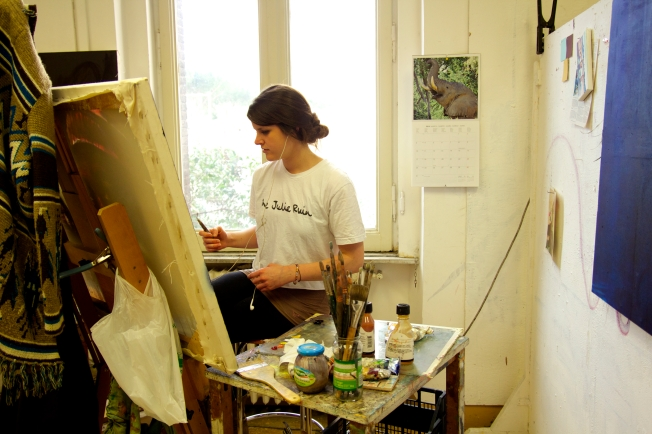 "This art student ""practically lives"" in the art studio."