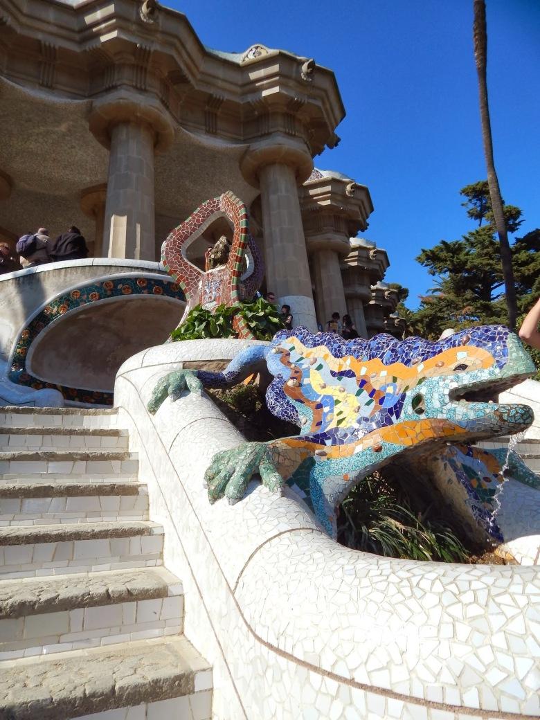 """Gaudi´s salamander known as """"el drac"""" at the main entrance to the park."""
