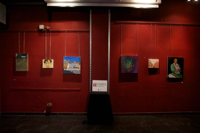 Art show at local bar Circolo degli Artisti in Rome, Temple Rome had a room of art students.