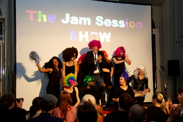 Our host Gianni entering with colors and wigs. The Temple Rome Jam Session starts NOW!