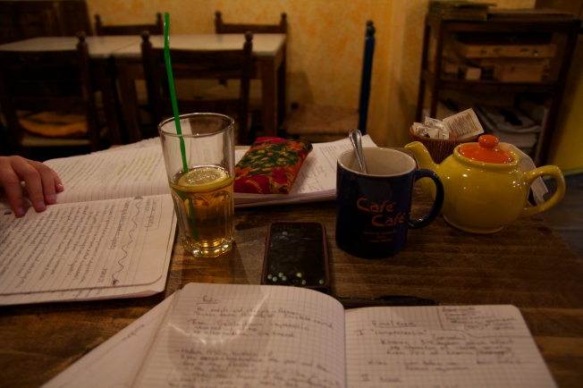 My roommate and I studying for finals at a cafe.