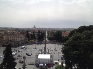 Looking down at the Piazza del Popolo (and the obelisk)