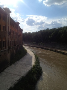 Tiber Island as seen from Pone Fabricio, Rome's oldest walking bridge