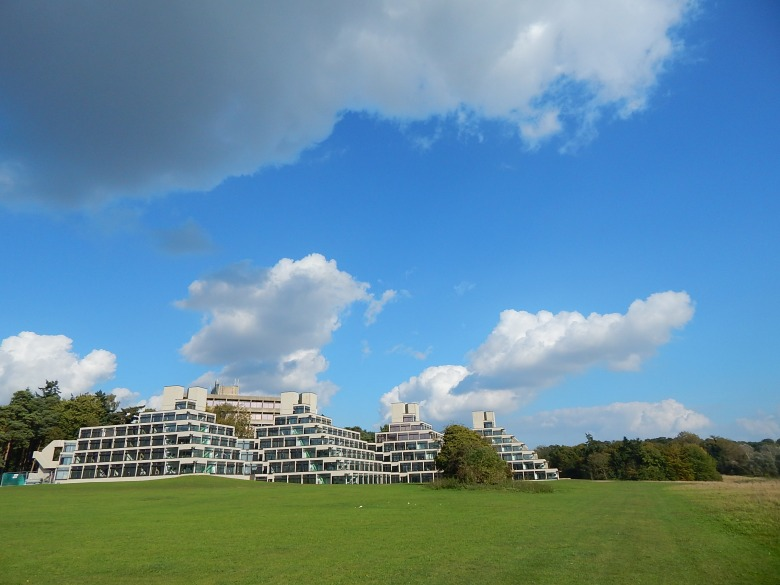 "The ""ziggurats"" of the University of East Anglia add a mysterious and futuristic feeling to campus."
