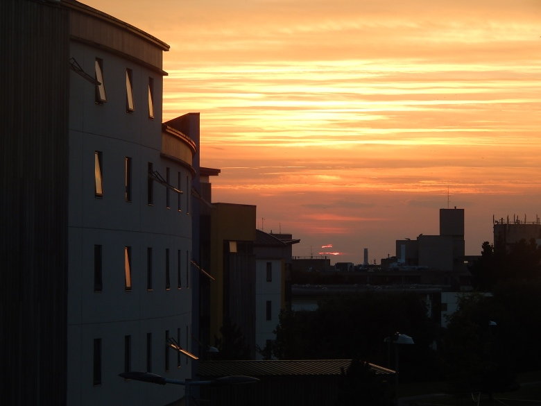 Sunset over the UEA campus. Student accommodation are on the left side of the photograph.