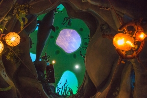 """In this playground in Ariel's Castle, they reenact the scene from """"The Little Mermaid"""" where Ariel sings in her cave with her collectibles."""