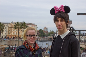 Temple Japan students Megan Smith and Carlos Casademont stop for a photo in front of Disney Sea. This is the largest park in the Tokyo Disney Resort, and even has a giant volcano in the middle!
