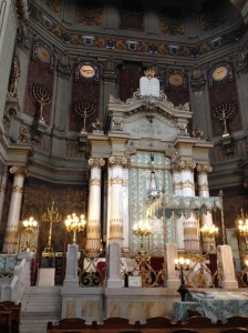 The holy ark, which houses the Torah scrolls