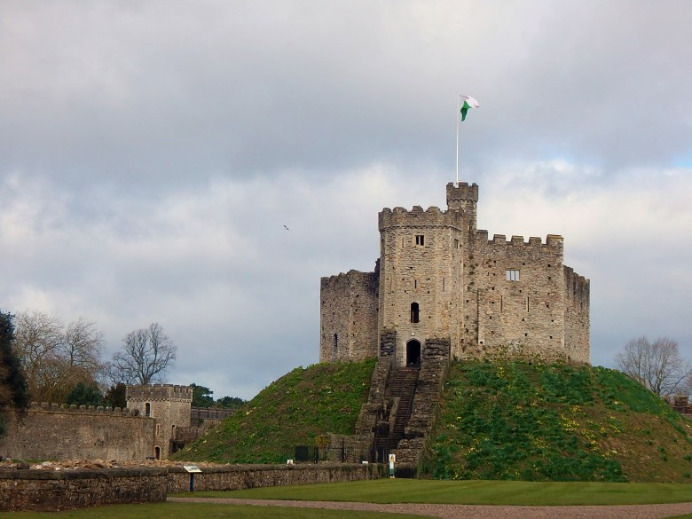 The Norman shell keep inside of Cardiff Castle in Wales.