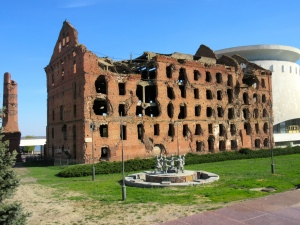Dom Pavlova, the most intact building left in Stalingrad after the battle. They haven't changed it, or fixed it up or dramatized it to look worse. This was really the most intact building in the entire city.