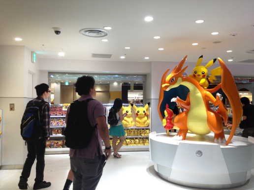 TUJ students greeted by a giant Charizard/Pikachu statue in the Pokemon Center located in Ikebukuro's Sunshine 60.