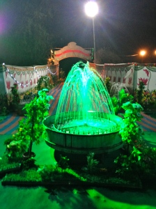 The entrance to the wedding, complete with a fountain.