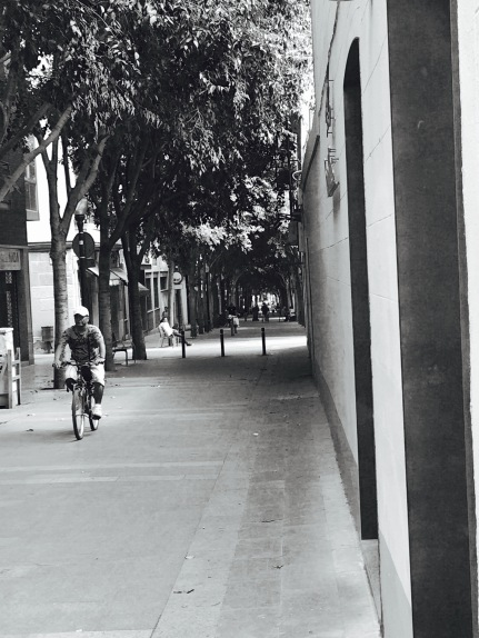Cyclist on Barcelona Street