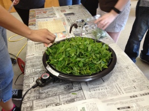 TUJ students compiled their leaves and had a chance to cook them as instructed