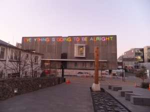 The Christchurch Art Gallery, which is still undergoing repair and inaccessible to the public. But everything is going to be alright, especially with the support of the community.