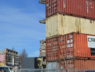 Shipping containers are a common sight in ChCh.