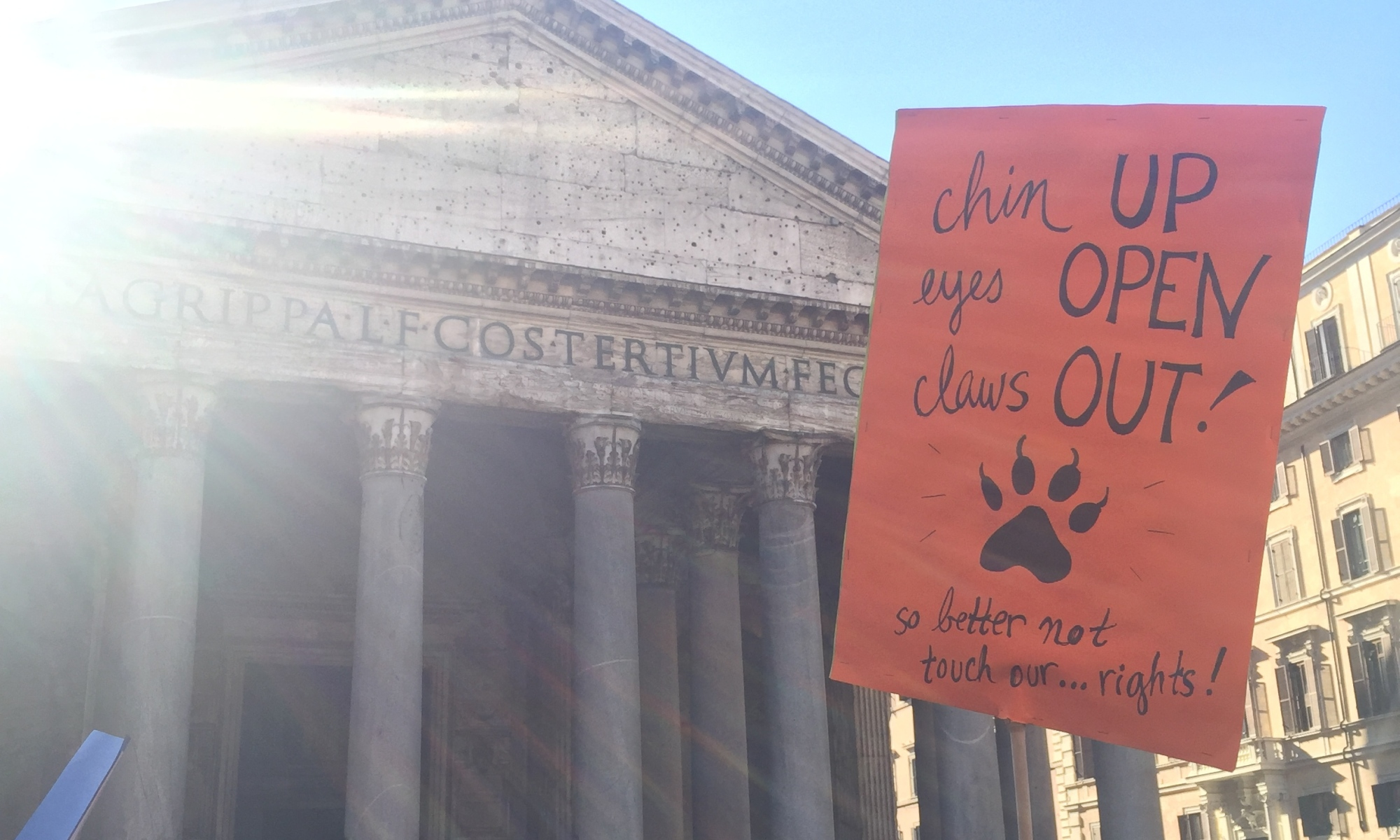 Woman's march sign at Pantheon