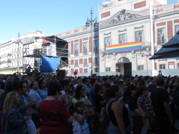 taken at one of the main stages of the parade in Puerta del Sol