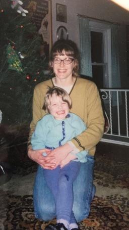 Mom hugs n Christmas cheer