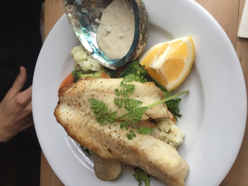 An amazing dish from Fleur's Place, a seafood restaurant in Moeraki.