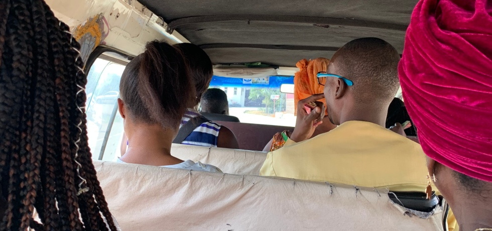 riding in the tro-tro in Ghana